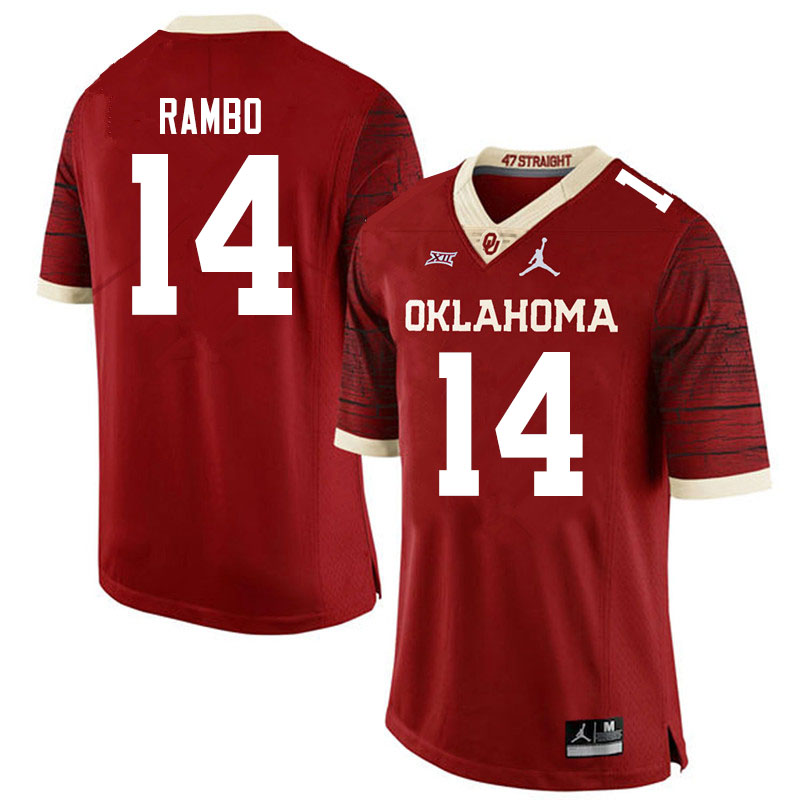 Men #14 Charleston Rambo Oklahoma Sooners Jordan Brand Limited College Football Jerseys Sale-Crimson