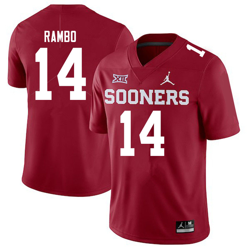 Men #14 Charleston Rambo Oklahoma Sooners Jordan Brand College Football Jerseys Sale-Crimson
