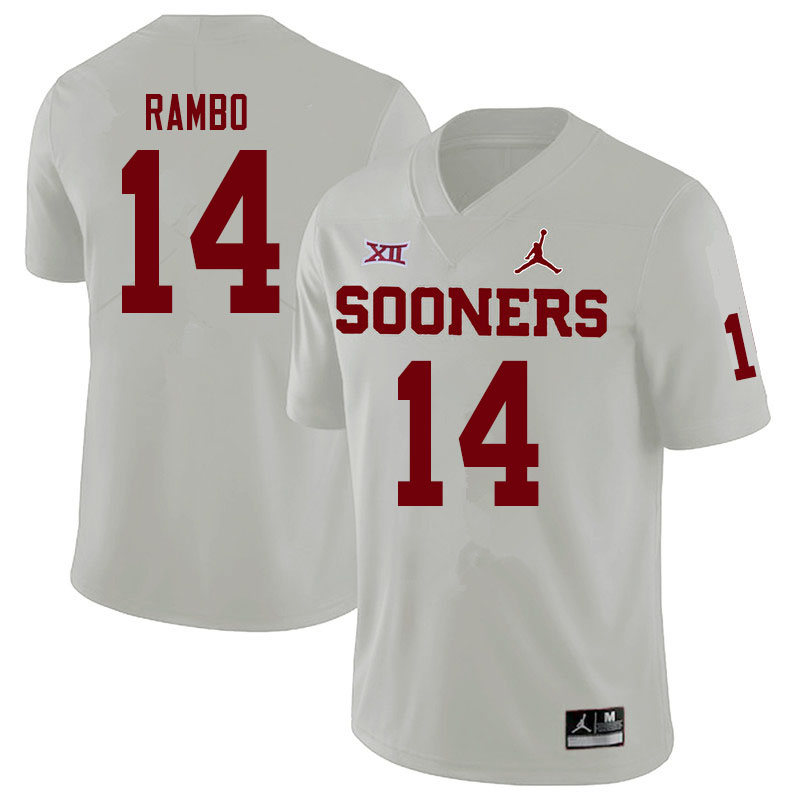 Men #14 Charleston Rambo Oklahoma Sooners Jordan Brand College Football Jerseys Sale-White