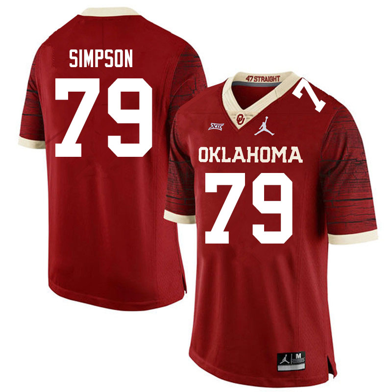 Men #79 Darrell Simpson Oklahoma Sooners Jordan Brand Limited College Football Jerseys Sale-Crimson