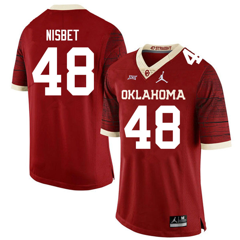Men #48 Deuce Nisbet Oklahoma Sooners Jordan Brand Limited College Football Jerseys Sale-Crimson