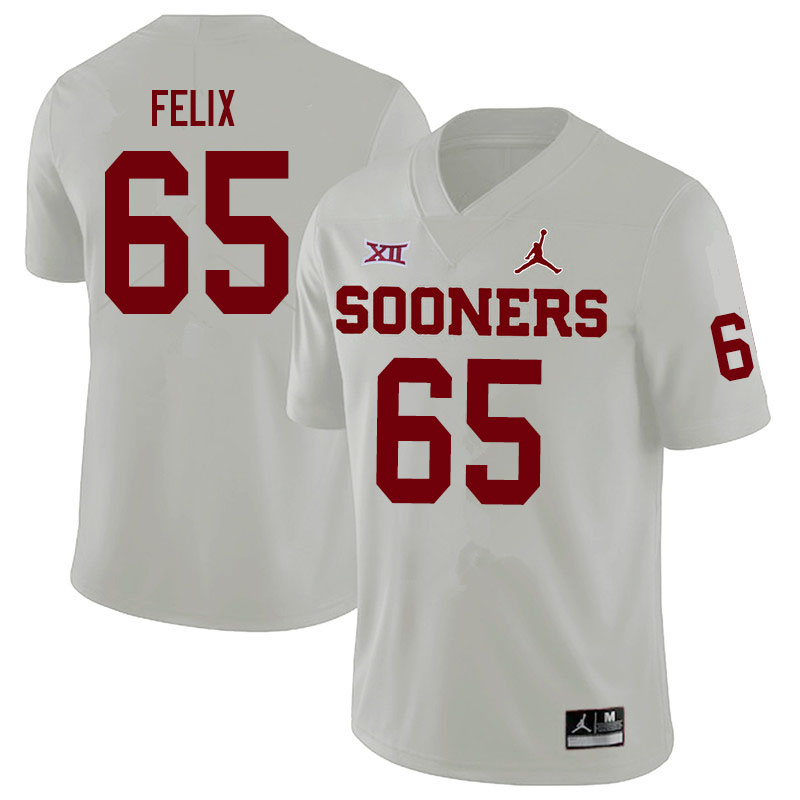 Men #65 Finley Felix Oklahoma Sooners Jordan Brand College Football Jerseys Sale-White