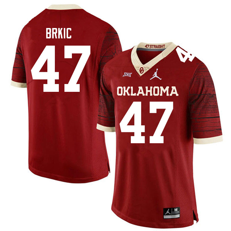 Men #47 Gabe Brkic Oklahoma Sooners Jordan Brand Limited College Football Jerseys Sale-Crimson