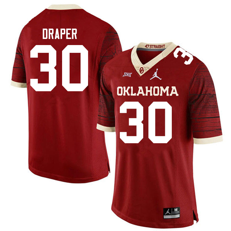 Men #30 Levi Draper Oklahoma Sooners Jordan Brand Limited College Football Jerseys Sale-Crimson
