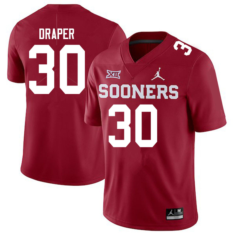 Men #30 Levi Draper Oklahoma Sooners Jordan Brand College Football Jerseys Sale-Crimson