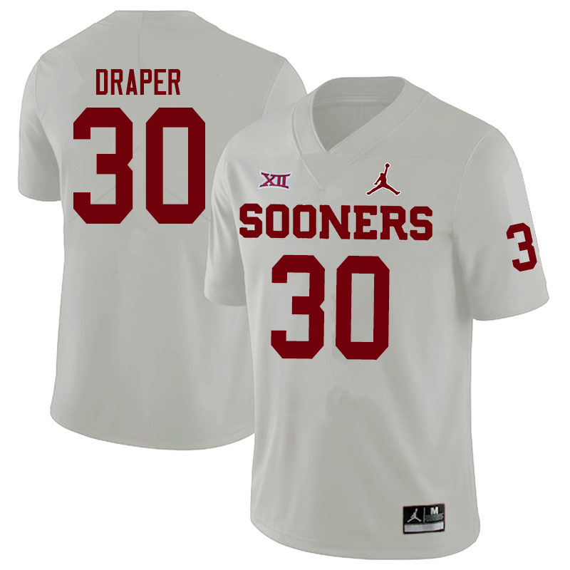 Men #30 Levi Draper Oklahoma Sooners Jordan Brand College Football Jerseys Sale-White