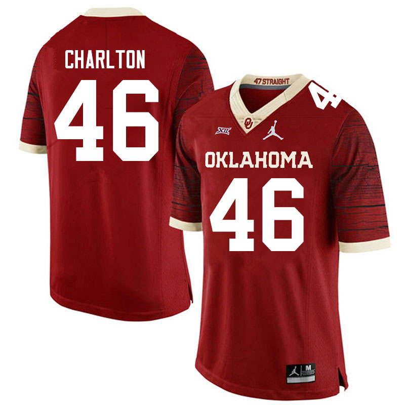 Men #46 Robert Charlton Oklahoma Sooners Jordan Brand Limited College Football Jerseys Sale-Crimson