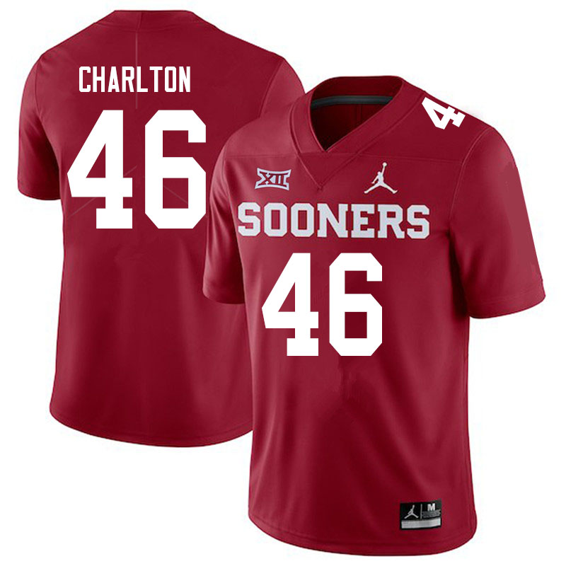 Men #46 Robert Charlton Oklahoma Sooners Jordan Brand College Football Jerseys Sale-Crimson