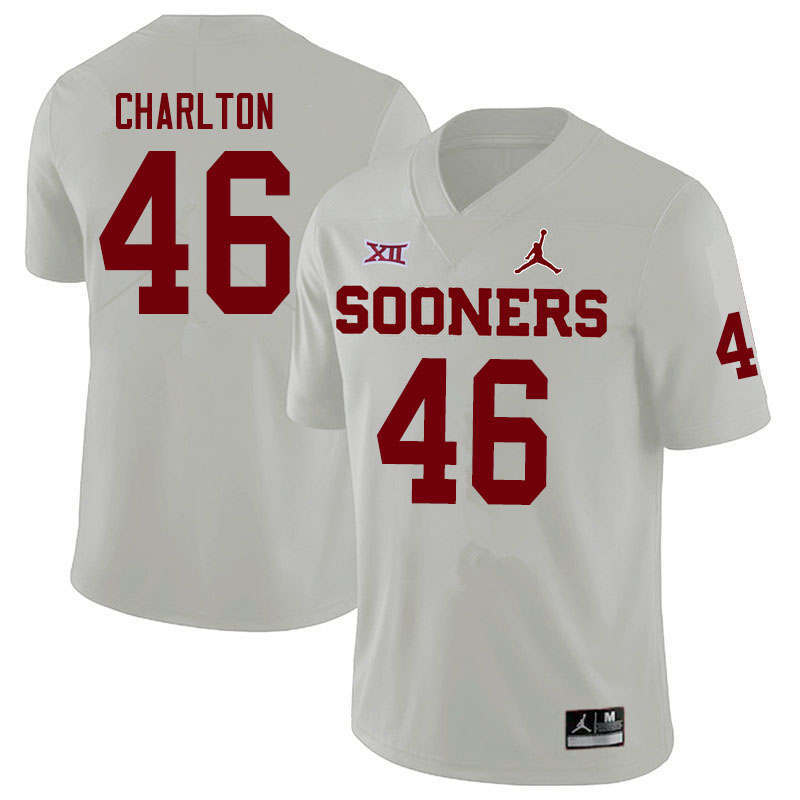 Men #46 Robert Charlton Oklahoma Sooners Jordan Brand College Football Jerseys Sale-White
