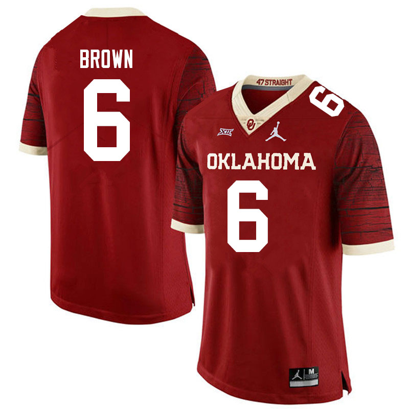 Men #6 Tre Brown Oklahoma Sooners Jordan Brand Limited College Football Jerseys Sale-Crimson