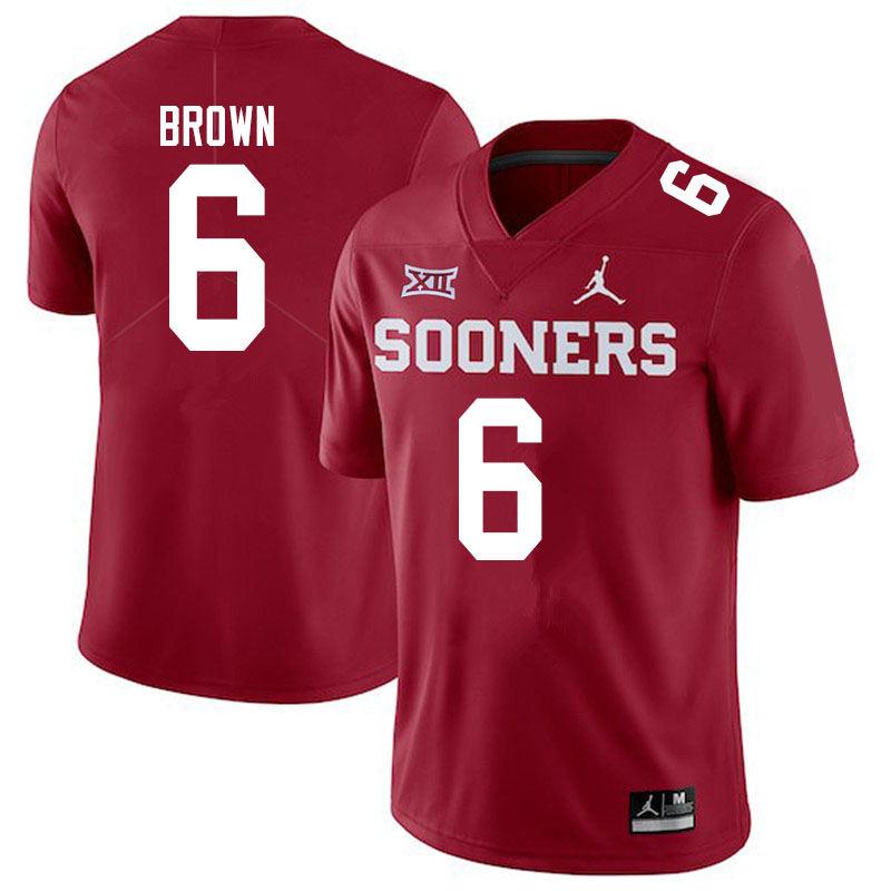 Men #6 Tre Brown Oklahoma Sooners Jordan Brand College Football Jerseys Sale-Crimson