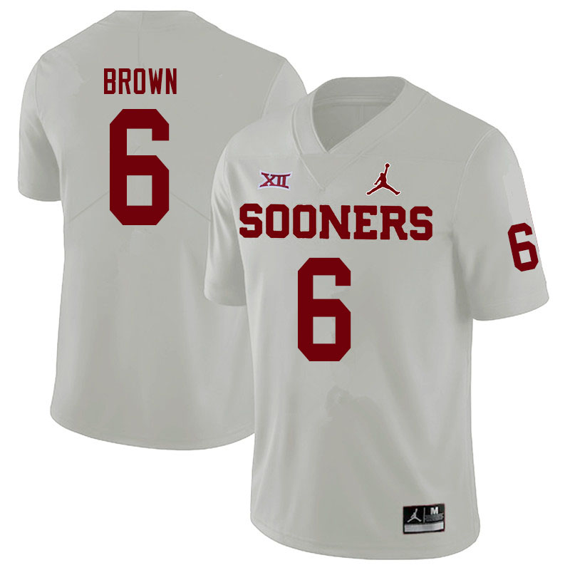 Men #6 Tre Brown Oklahoma Sooners Jordan Brand College Football Jerseys Sale-White