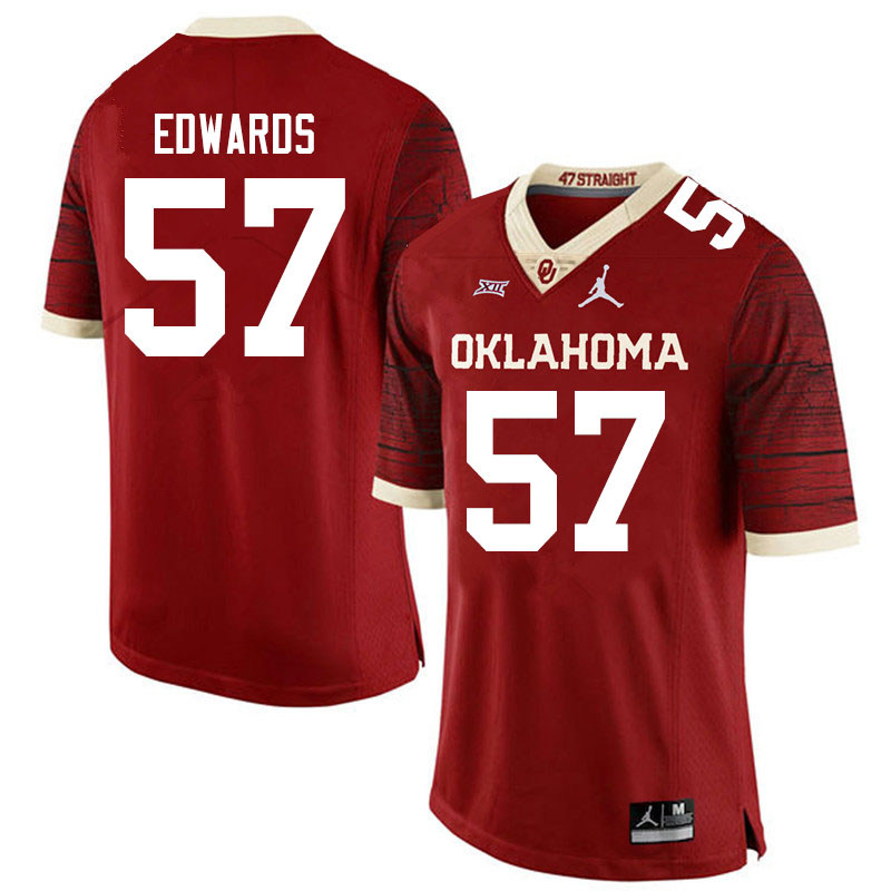 Men #57 Zach Edwards Oklahoma Sooners Jordan Brand Limited College Football Jerseys Sale-Crimson