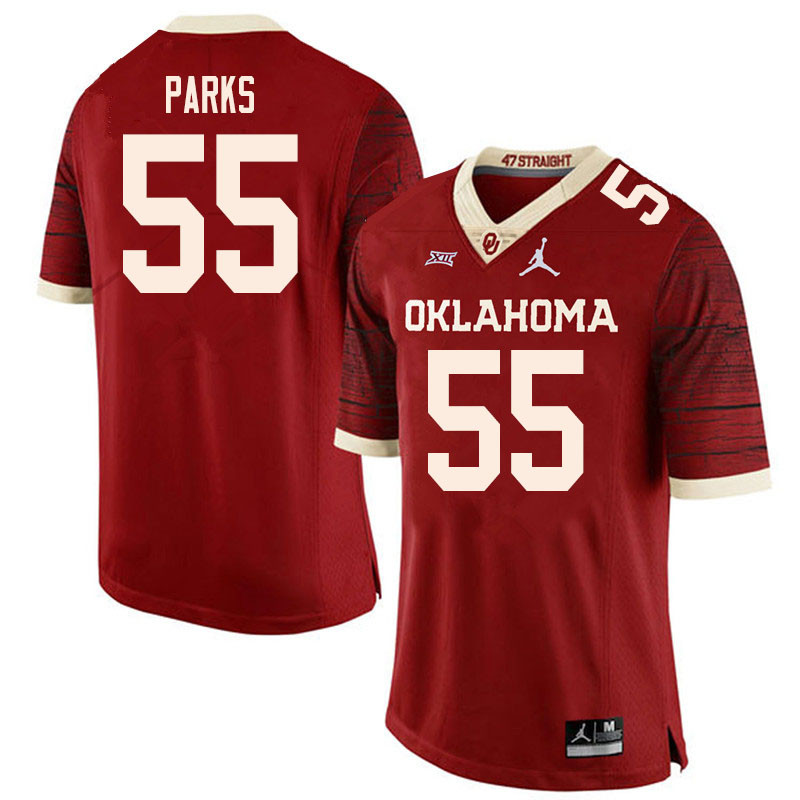 Men #55 Aaryn Parks Oklahoma Sooners College Football Jerseys Sale-Retro