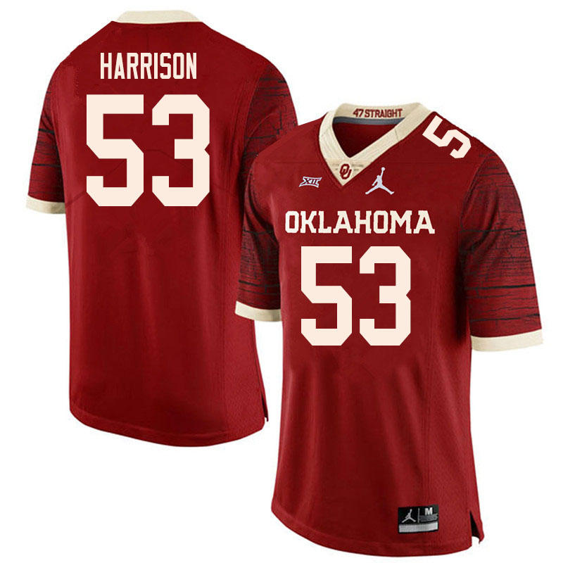 Men #53 Anton Harrison Oklahoma Sooners College Football Jerseys Sale-Retro