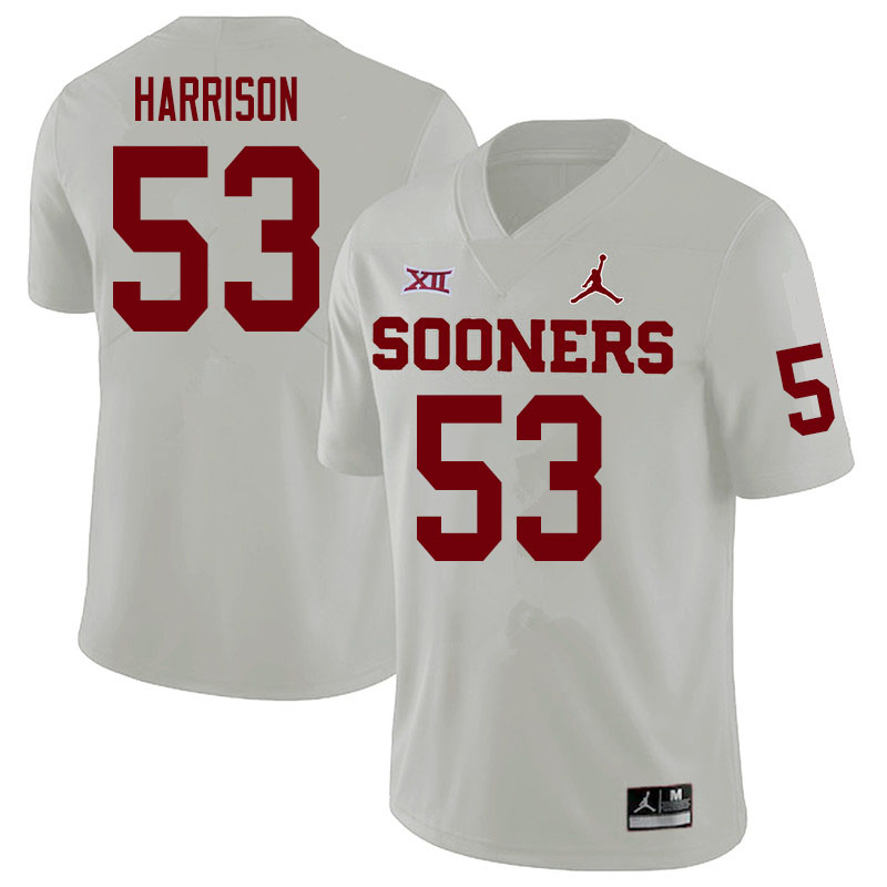 Men #53 Anton Harrison Oklahoma Sooners College Football Jerseys Sale-White