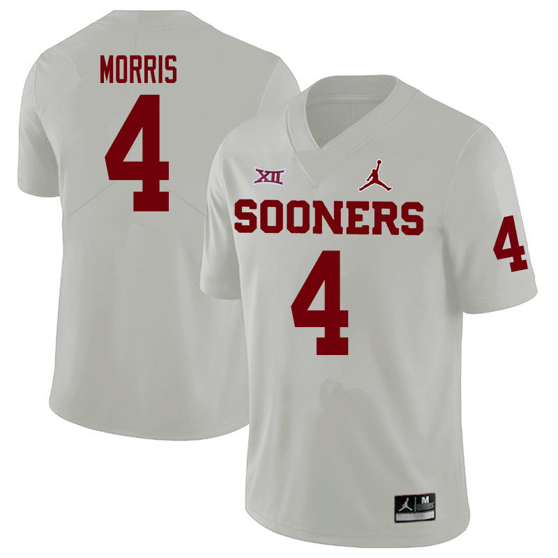 Men #4 Chandler Morris Oklahoma Sooners College Football Jerseys Sale-White