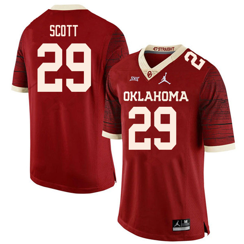 Men #29 Jaedyn Scott Oklahoma Sooners College Football Jerseys Sale-Retro