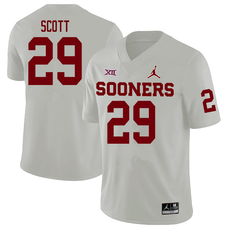 Men #29 Jaedyn Scott Oklahoma Sooners College Football Jerseys Sale-White