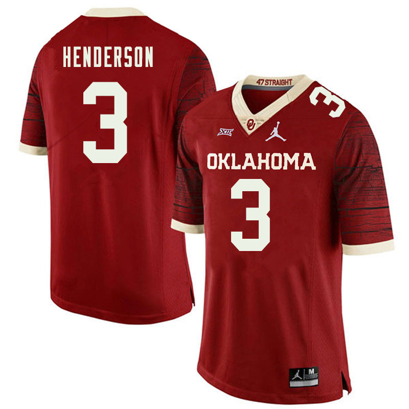 Jordan Brand Men #3 Mikey Henderson Oklahoma Sooners College Football Jerseys Sale-Retro