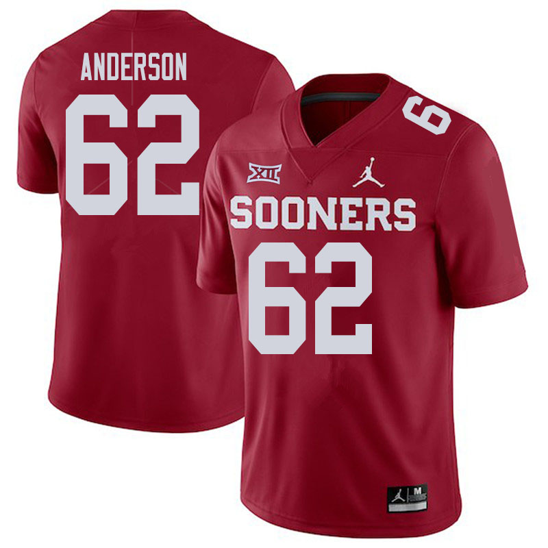 Men #62 Nate Anderson Oklahoma Sooners College Football Jerseys Sale-Crimson