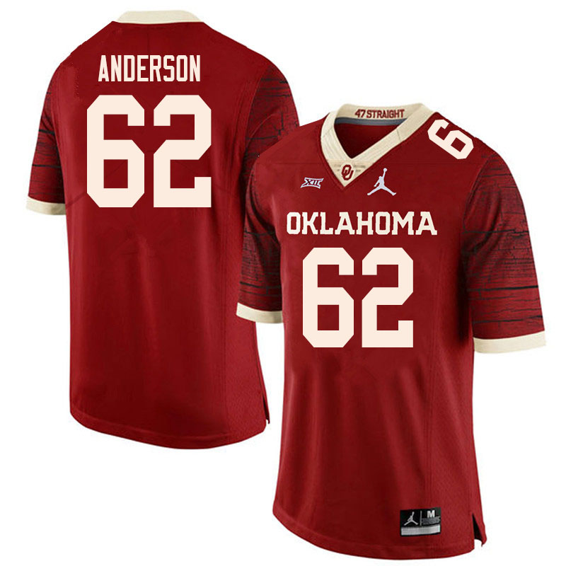 Men #62 Nate Anderson Oklahoma Sooners College Football Jerseys Sale-Retro