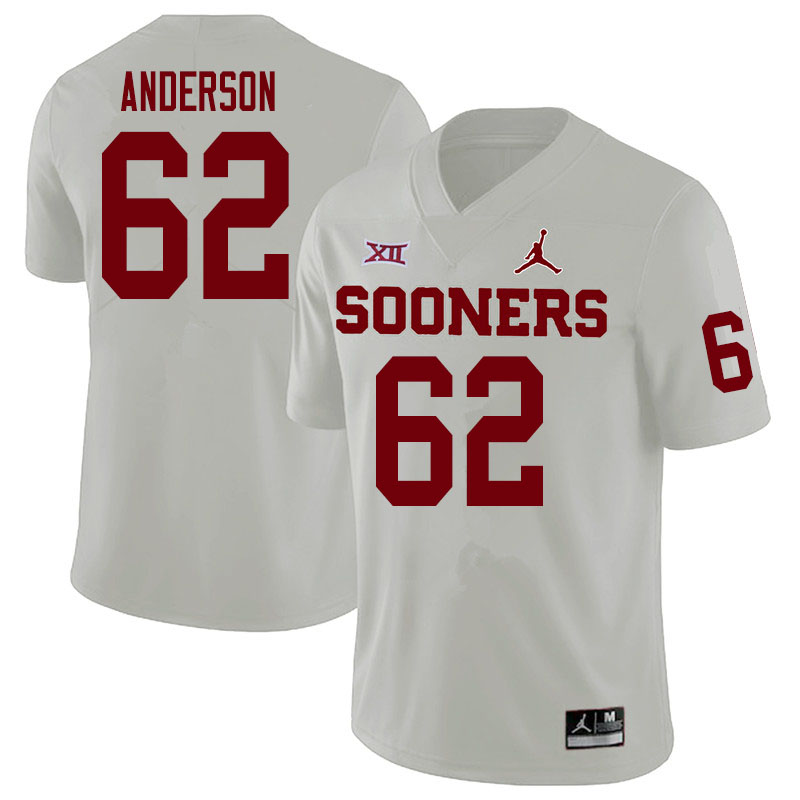 Men #62 Nate Anderson Oklahoma Sooners College Football Jerseys Sale-White