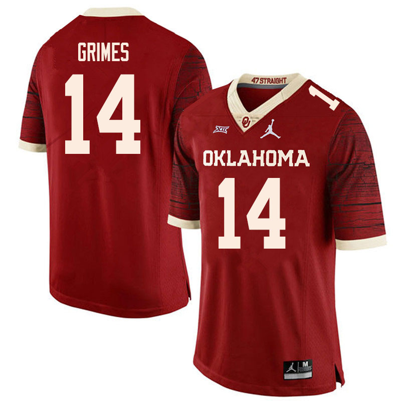 Men #14 Reggie Grimes Oklahoma Sooners College Football Jerseys Sale-Retro