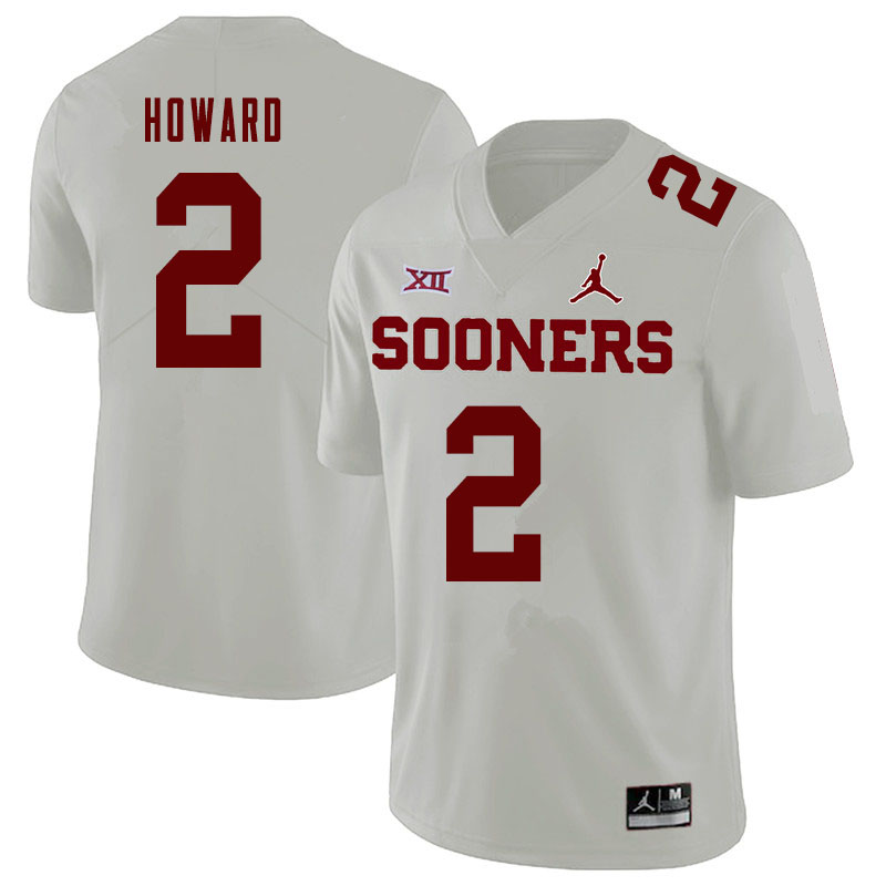 Jordan Brand Men #2 Theo Howard Oklahoma Sooners College Football Jerseys Sale-White