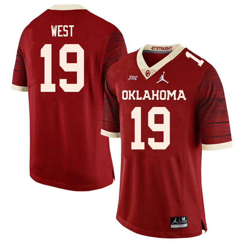 Men #19 Trevon West Oklahoma Sooners College Football Jerseys Sale-Retro
