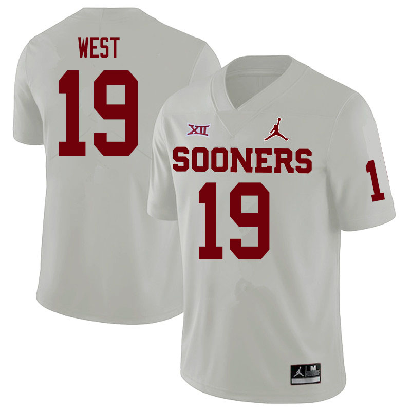 Men #19 Trevon West Oklahoma Sooners College Football Jerseys Sale-White