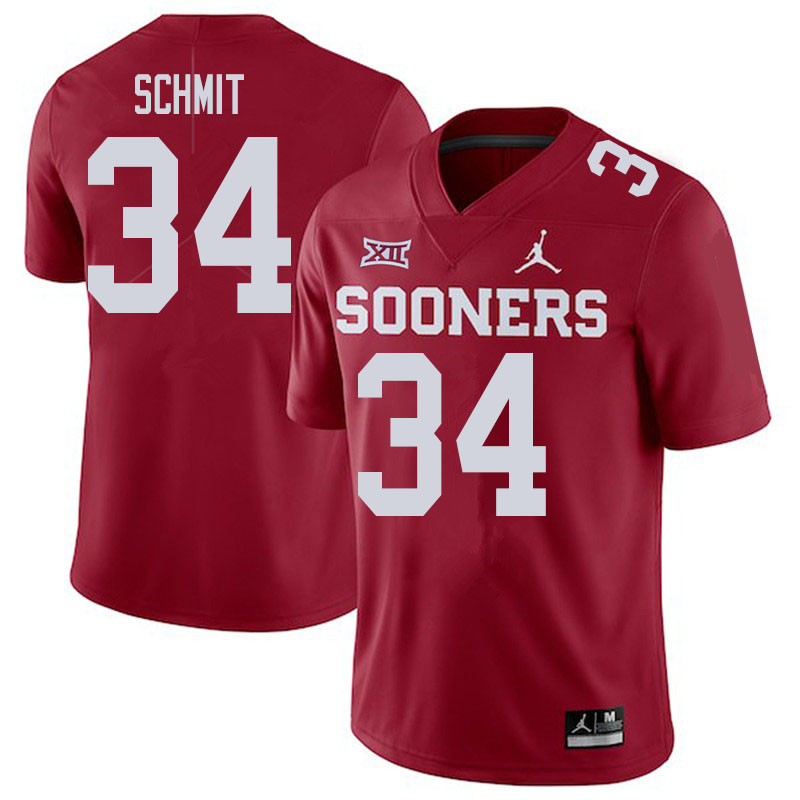 Men #34 Zach Schmit Oklahoma Sooners College Football Jerseys Sale-Crimson