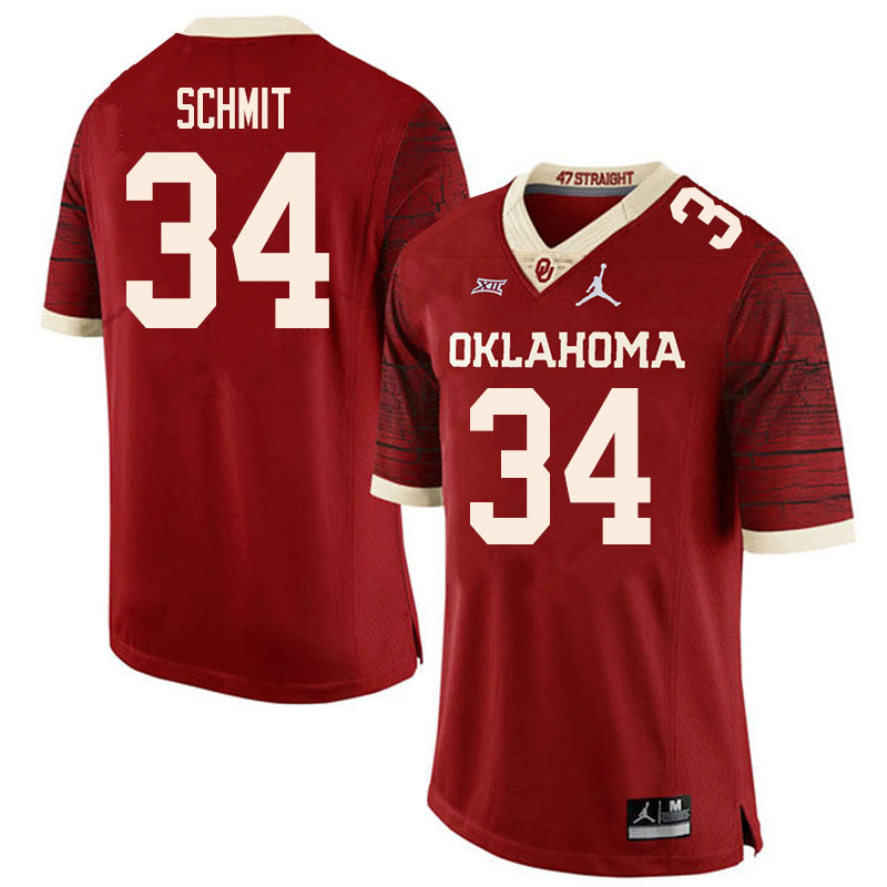 Men #34 Zach Schmit Oklahoma Sooners College Football Jerseys Sale-Retro
