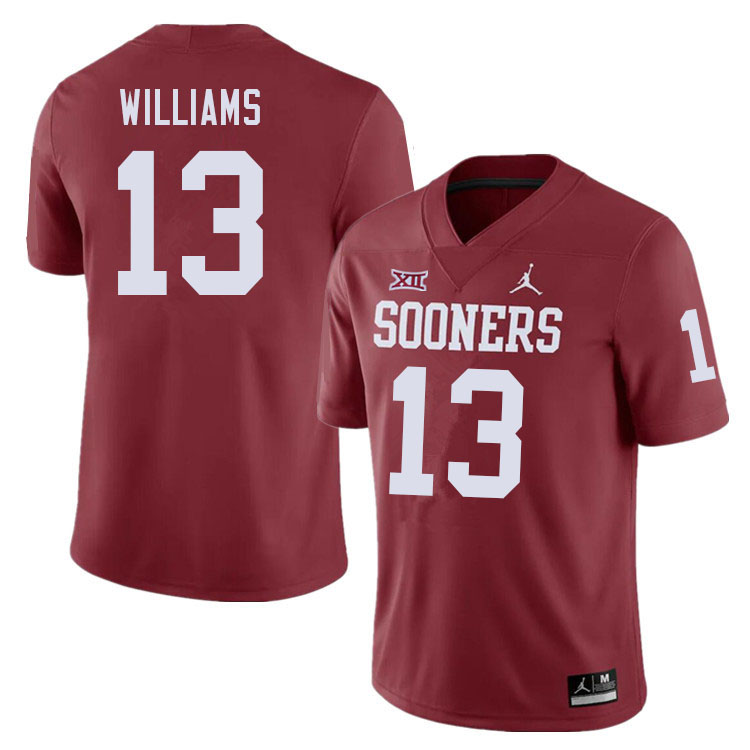 Men #13 Caleb Williams Oklahoma Sooners College Football Jerseys Sale-Crimson