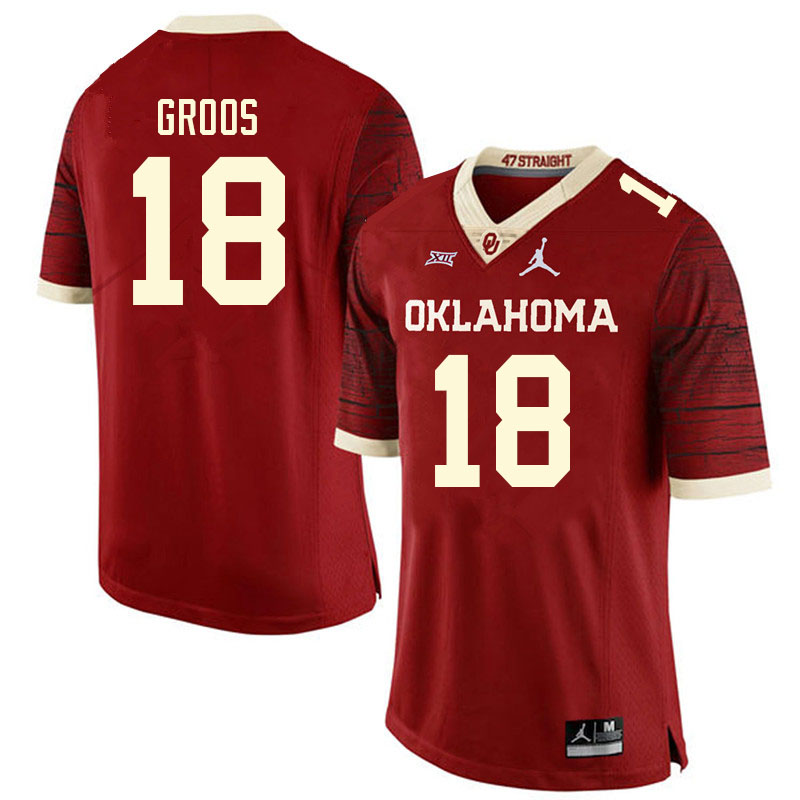 Men #18 Carsten Groos Oklahoma Sooners College Football Jerseys Sale-Retro