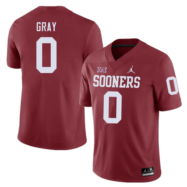 Men #0 Eric Gray Oklahoma Sooners College Football Jerseys Sale-Crimson
