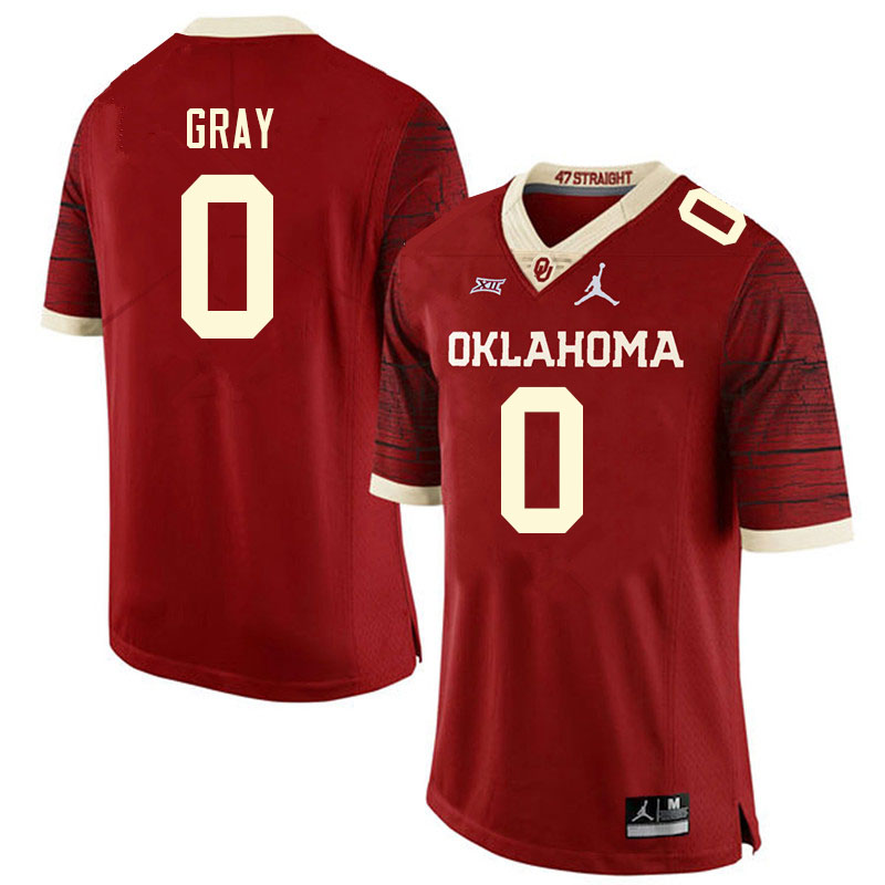 Men #0 Eric Gray Oklahoma Sooners College Football Jerseys Sale-Retro