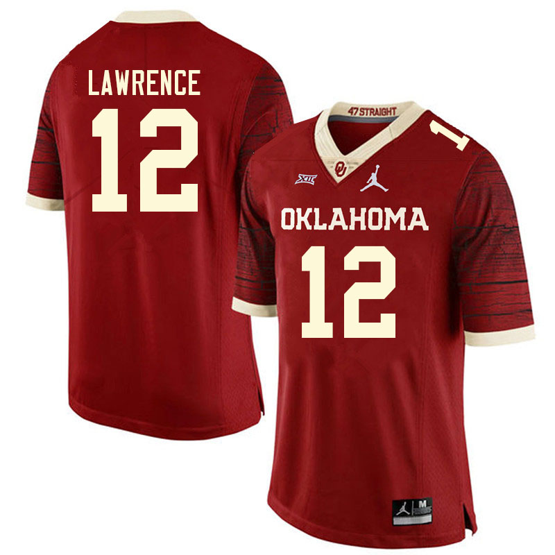 Men #12 Key Lawrence Oklahoma Sooners College Football Jerseys Sale-Retro