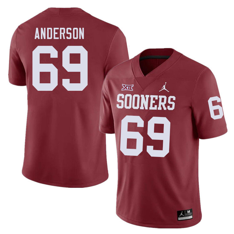 Men #69 Nate Anderson Oklahoma Sooners College Football Jerseys Sale-Crimson