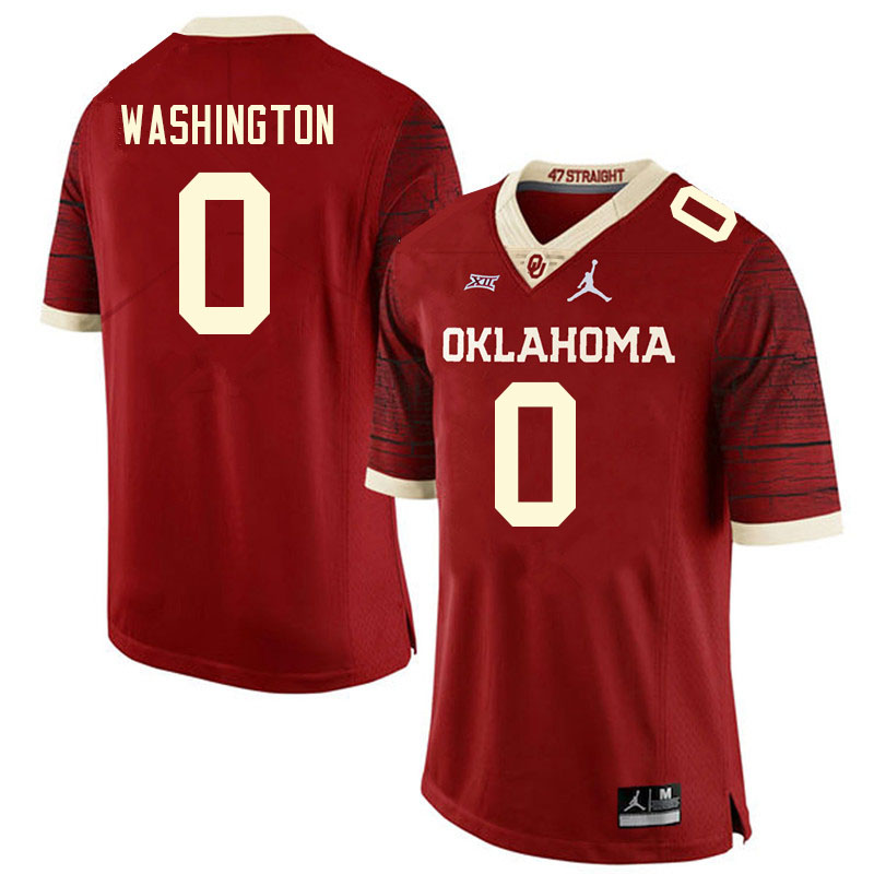 Men #0 Woodi Washington Oklahoma Sooners College Football Jerseys Sale-Retro