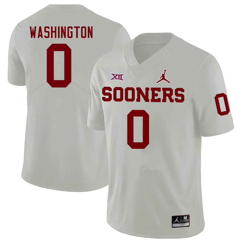 Men #0 Woodi Washington Oklahoma Sooners College Football Jerseys Sale-White