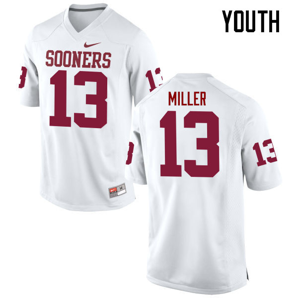 Youth Oklahoma Sooners #13 A.D. Miller College Football Jerseys Game-White