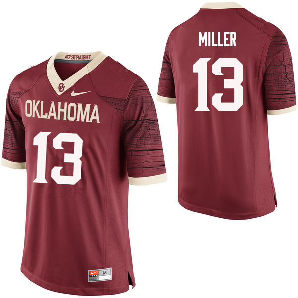 Men Oklahoma Sooners #13 A.D. Miller College Football Jerseys Limited-Crimson