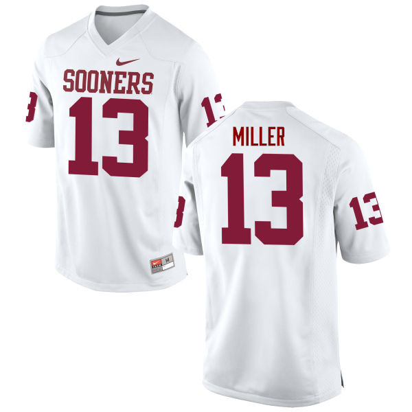 Men Oklahoma Sooners #13 A.D. Miller College Football Jerseys Game-White