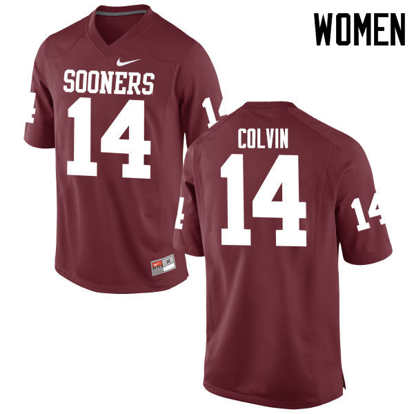 Women Oklahoma Sooners #14 Aaron Colvin College Football Jerseys Game-Crimson