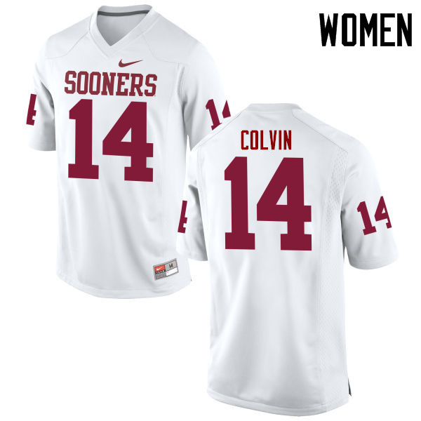 Women Oklahoma Sooners #14 Aaron Colvin College Football Jerseys Game-White