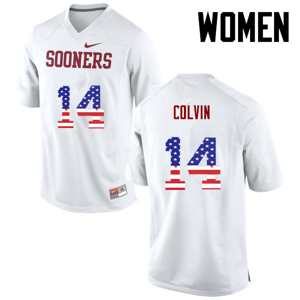 Women Oklahoma Sooners #14 Aaron Colvin College Football USA Flag Fashion Jerseys-White
