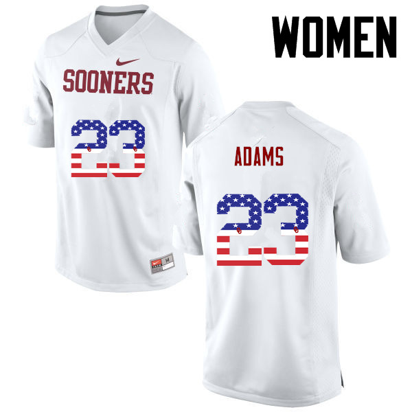 Women Oklahoma Sooners #23 Abdul Adams College Football USA Flag Fashion Jerseys-White