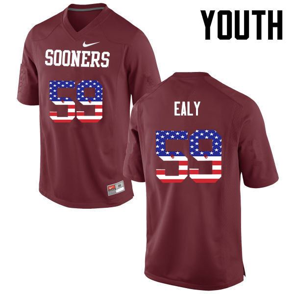 Youth Oklahoma Sooners #59 Adrian Ealy College Football USA Flag Fashion Jerseys-Crimson