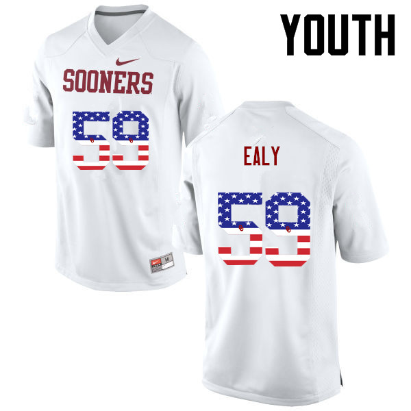 Youth Oklahoma Sooners #59 Adrian Ealy College Football USA Flag Fashion Jerseys-White